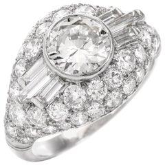 1930s 3.35 Carat Diamond Platinum Engagement Ring