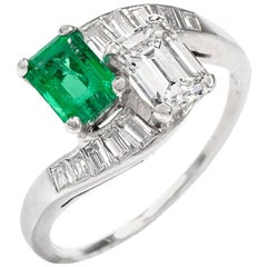 Vintage Diamond Emerald Platinum Bypass Cocktail Ring
