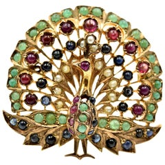 Vintage Emerald, Sapphire, Ruby and Pearl Peacock Pin