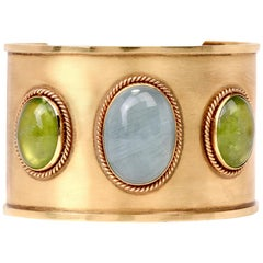 1990s Aquamarine Peridot 18 Karat Yellow Gold Cuff Bracelet