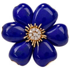 Flower Lapis Lazuli Diamond 18 Karat Yellow Gold Pin Brooch