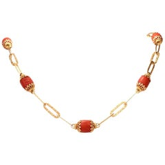 Estate Natural Red Coral 18 Karat Yellow Gold Link Necklace