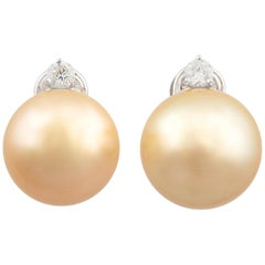 Ella Gafter Intense Golden Pearl and Diamond Clip-On Earrings