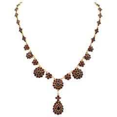 Garnet Pendant Vermeil Necklace