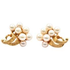 14 Karat Yellow Gold Pearl Cluster Clip-On Earrings