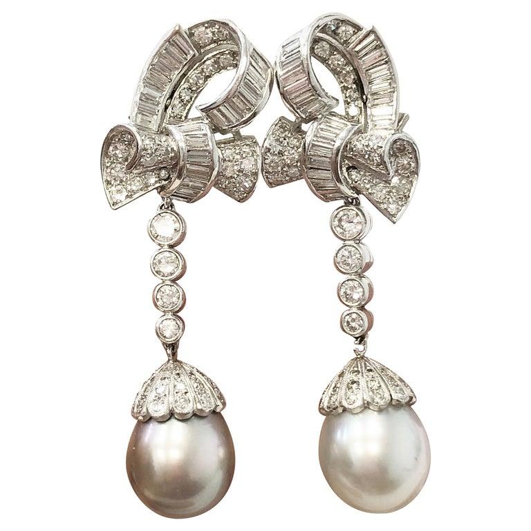 South Sea and Tahitian Pearl and Diamond Dangle Earrings in Platinum