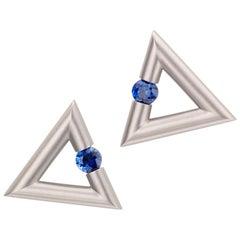 Steven Kretchmer 18K White Gold Triangle Tension-set Blue Sapphire Earrings