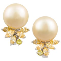 Ella Gafter Golden Pearl and Diamond Clip-On Earrings