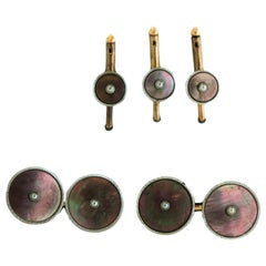 1940s Kum-A-Part Platinum and Mother-of-Pearl Cufflink and Stud Set