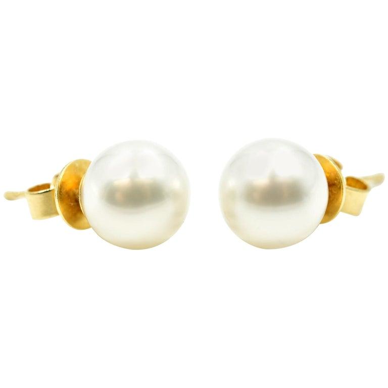South Sea Pearl, 18 Karat Yellow Gold Stud Earrings