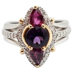 14 Karat White Gold, Amethyst and Garnet Cocktail Ring with Diamonds
