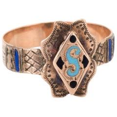 Antique Victorian Letter S Enamel Initial Ring Vintage 10 Karat Gold Jewelry