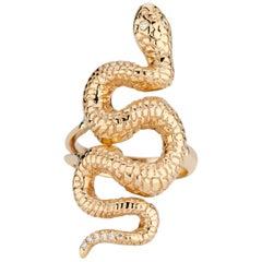 14 Karat Yellow Gold and White Diamond Snake Ring