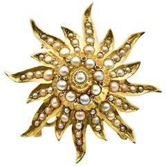 Seed Pearl Flower Pin 14 Karat Yellow Gold
