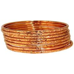 18 Karat Stackable Vintage Eight Slip on Bangle Bracelets Greek Patina 95 Grams