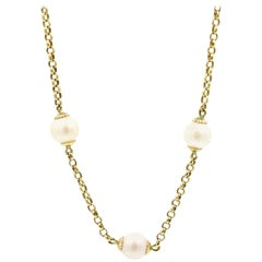 14 Karat Yellow Gold Semi-Round Cultured Pearl Chain Necklace