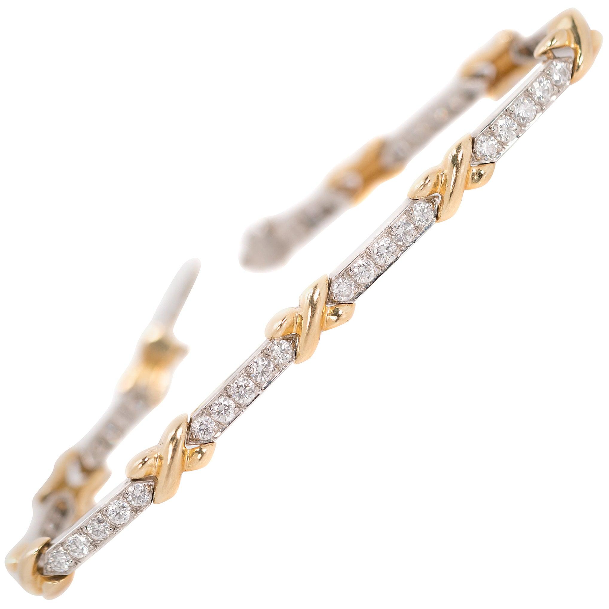 4 Carat Diamond, Platinum and 18 Karat Yellow Gold Link Bracelet