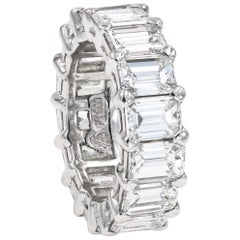 Emerald Cut Diamond Platinum Eternity Band, over 12 Carat
