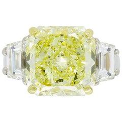 GIA Certified 6.50 Carat Fancy Yellow Diamond Three-Stone Ring