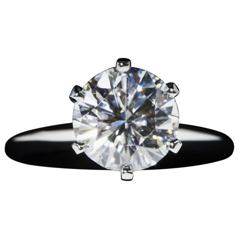 Tiffany & Co. Platinum Diamond Engagement Ring 2.22 Carat, VS1, E
