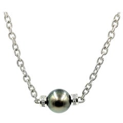 18 Karat White Gold, Tahitian Pearl and 0.18 Carat Diamond Necklace