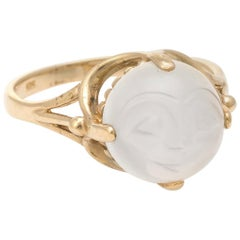 Man in the Moon Face Ring Vintage Moonstone 10 Karat Gold Celestial Jewelry