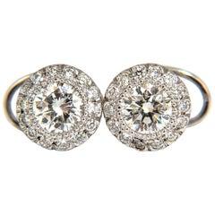 2.50 Carat Natural Diamonds Halo Stud Earrings and Profile Encrusted 14 Karat
