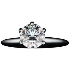 Tiffany & Co. Platinum Diamond Engagement Ring 0.83 Carat, SI1, H