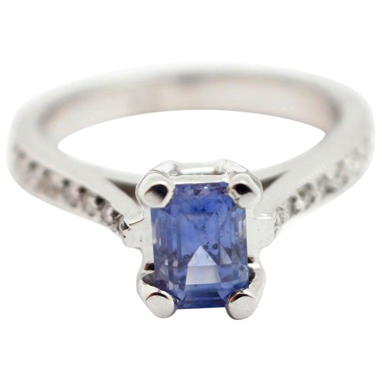 14 Karat White Gold, 1.31 Carat Ceylon Sapphire and 0.16 Carat Diamond Ring