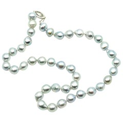 Silver Baroque Pearl Strand with 14 Karat White Gold Clasp