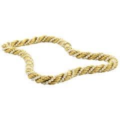 Strand of Braided Gold with Cultured Pearls Necklace