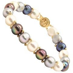 Button Pearl Bracelet with Black, White, Grey Pearls and 14 Karat Yellow Gold