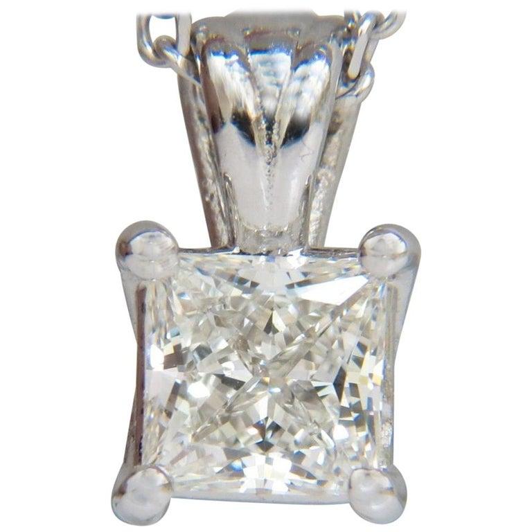GIA 1.01 Carat Brilliant Princess Cut Diamond Solitaire Pendant H/VVS1 14 Karat
