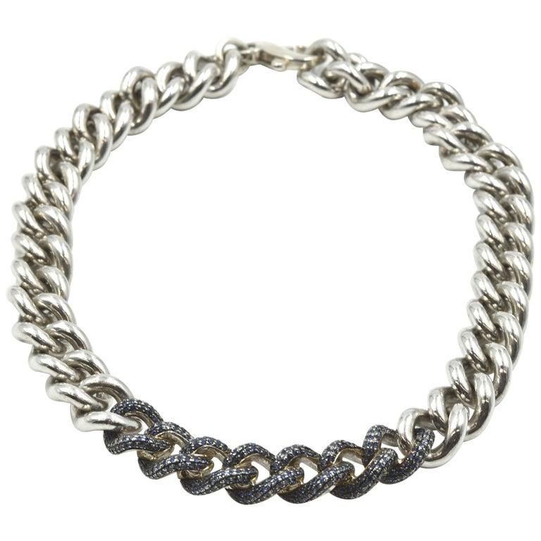 """Pianegonda """"Glitter"""" Sapphire and Sterling Silver Chain Necklace"""