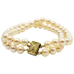 Cultured Pearl Double Strand Bracelet with 14 Karat Yellow Gold Clasp