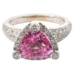 14 Karat White Gold, Pink Tourmaline and Diamond Cocktail Ring