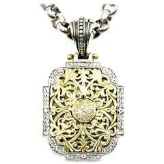 Konstantino Diamond Sterling Silver and 18 Karat Yellow Gold Pendant Necklace