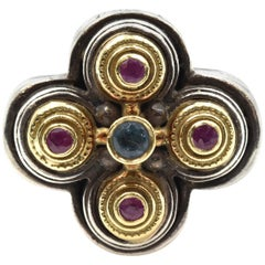 Konstantino 18 Karat Yellow Gold and Sterling Silver Clover Ring