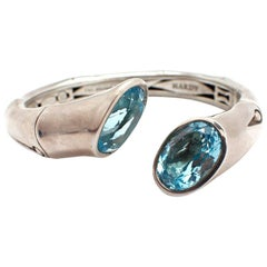 Ladies Sterling Silver John Hardy Bamboo Cuff Bracelet with Blue Topaz