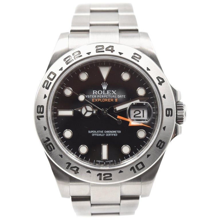 Rolex Stainless Steel Explorer II Black Dial automatic Wristwatch Ref 216570 For Sale