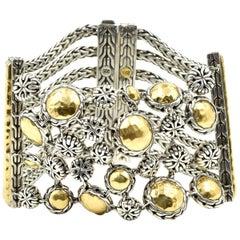 John Hardy Sterling Silver 18 Karat Yellow Gold Flexible Bracelet