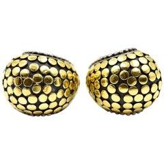 John Hardy Sterling Silver 18 Karat Yellow Gold Dot Earrings, 17 Grams