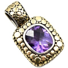 John Hardy 18 Karat Yellow Gold and Sterling Silver Amethyst Pendant