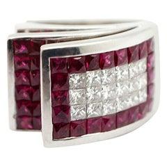 18 Karat White Gold, Diamond and Ruby Modern Ring, 3.96 Carat
