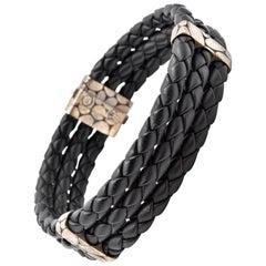 Men's John Hardy Kali Collection Black Woven Leather Triple-Row Bracelet