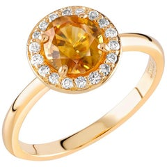 Yellow Sapphire and Halo Diamond Cluster 18 Karat Yellow Gold Cocktail Ring