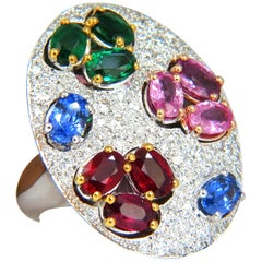 7.26CT Natural Sapphire Emerald Ruby Diamonds Sectional Cocktail Ring 18K