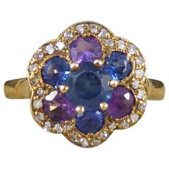 Vintage 18 Carat Gold Blue and Purple Sapphire and Diamond Cluster Ring