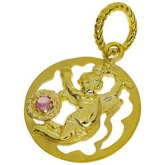 Tagliamonte Pink Tourmaline 18 Karat Yellow Gold Vicenza Angel Pendant Top