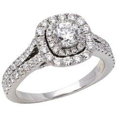 Vera Wang 14 Karat White Gold Double Halo Diamond Love Engagement Ring